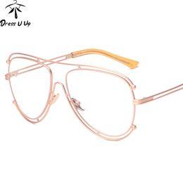 2020 gafas transparentes de gran tamaño al por mayor Al por mayor- DRESSUUP 2017 Vintage Gafas de montura de gran tamaño Marco de anteojos transparentes para marco de aleación óptico masculino lunette de vue homme rebajas gafas transparentes de gran tamaño al por mayor