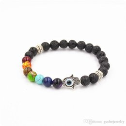 Wholesale Hamsa Bead Bracelets - 8mm lava energy chakra bracelets Unisex colorful beads bracelets Hand of Hamsa Fatima bracelets free shipping