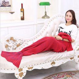Wholesale Children Sleeping Blankets - 90x50 Mermaid tail blanket Christmas gife children kid Crochet Warmer Knit Twin Blanket Handmade Cocoon Soft bed Sleeping Bags