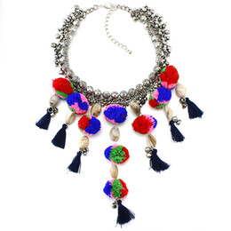 Wholesale Yarn Ball Pendant - Wholesale-2016 Luxury ZA Tassel Collar Necklace S & Pendants Fashion Women Jewelry Unique Color Yarn Ball Statement Necklace