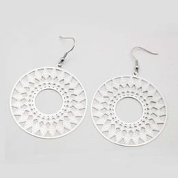 Wholesale Egypt Earrings - Fashion jewelry 316L stainless steel silver big round earrings pendant geometric long drop earring Egypt India jewelry earrings