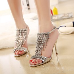 Wholesale Sparkle Beaded Bridal Shoes - 2017 Peep Toe Sparkling Beading Crystal Bridal Bridesmaid Luxury High Heels Party Prom Shoes Sandals Pumps Wedding Women's Dress Shoes