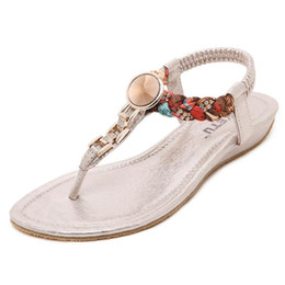 Wholesale Silver Low Wedge Sandals - Women Sandals Bohemian National Diamond Clip Toe Low Heel Casual Woman Shoes Woven Flip Flops Soft Leather Size 35-41