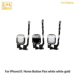Wholesale Key Touch Iphone Button - 100pcs lot Original Home Button Key Flex Cable For iphone 5S Return Menu Keypad Fingerprint Touch Flex Replacement Part Black White Gold