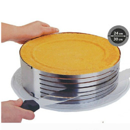 Wholesale christmas bakeware - Cutter Metal Circle Adjustable Stainless Steel Mousse Cake Layer Cut Tools Cake Slicer Device Mold Bakeware Cooking Cake Tools