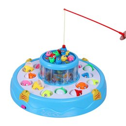 Wholesale Magnetic Rotating Fishing Game - Wholesale-Kids toys Double Fish Pool Electric Rotating Magnetic Fishing Game with the Music & Light Christmas Toy Gift