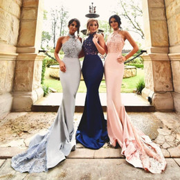 Wholesale Blush Evening Gowns - Real Images Modest Mermaid Prom Dresses 2017 Halter Appliques Beads Backless Trumpet Navy Blue Blush Silver Cheap Evening Party Gowns Custom
