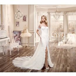 Wholesale Sexy Hochzeitskleid - Vestido De Novia Kurzarm Spitze Split Strand Brautkleid Mit abnehmbarer schwanz Backless Hochzeitskleid Robe de Mariage
