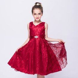 Wholesale New Girls Embroidered Dress - New Sleeveless Girls Dresses Lace Thick Satin Sash Ball Gown Birthday Party Christmas Princess Dresses Flower