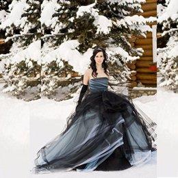 Wholesale Castle Princess Bride - Plus 2017 New Arrival Black and Tulle Ball Gown Princess Wedding Dresses Strapless Tulle Bride Gowns Winter Tiered Vestidos de Novia Dress