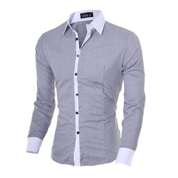 Wholesale 5colors Clothing - Hot Selling Men's Dress Shirts Long Sleeve Single Breasted Slim Fashion Leisure Clothing Men Patchwork Shirts Spring Fall Tops M-XXL 5Colors