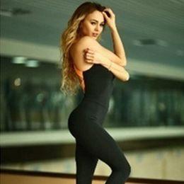 Wholesale Women S Yellow Jumpsuit - 2017 NEW Women Sports Training Gym Run Yoga Active Wear Fitness Stretch Jumpsuit