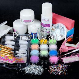 Wholesale kit decoration nails acrylic - Wholesale- New Pro Item Nail Art Liquid Powder Brush Pen Glitter Powder Decoration Cuticle Acrylic Nail Kit Manicure Tools Sets