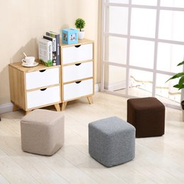 Wholesale Wholesale Wood Chairs - New Cloth Small square Stool Cotton and linen Fashion Solid wood stool Creative Living Room bedroom Sofa Stool Chair