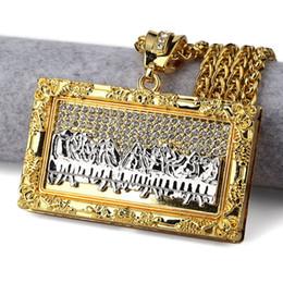 Wholesale 14k Gold Jesus Pendant - 2017 New Arrival Bible Jesus Charm Pendant Leonardo Da Vinci The Last Supper Necklace Rectangle Oil Painting Pendants Necklaces