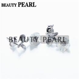 Ohrring halb montiert online-HOPEARL Schmuck Ohrring Einstellungen Weiße Muschel Blume Ohrring Semi Mount 925 Sterling Silber Erkenntnisse 3 Paare