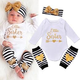 Wholesale Kids Bow Arrows - 0-18M Hot Newborn Baby Clothes Little Sister Arrows Print Long Sleeve Bodysuit Romper Striped Leg Warmer Bow Hairband 3pcs Kids Cotton Sets