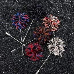 Wholesale Mens Button Jewelry - New Mens Pentagram Suit Female Flower Leaf Lapel Pin Brooches Stick Boutonniere fabric yarn button Pin Broches for wedding Groomsmen Jewelry