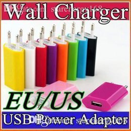 Wholesale charger ipad2 - 100X NEW 5V 1A Color EU US Plug USB Wall Charger AC Power Adapter for iphone 6 6S 7 Plus ipad mini S5 S4 ipad2 USB cell phone tablet pc C-SC