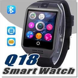 Telefones baratos do cartão do sim android on-line-Q18 smart watch para telefones android barato smartwatch bluetooth com câmera q18 suporte original tf sim slot para cartão de conexão bluetooth
