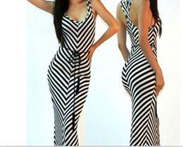 Wholesale Maxi Black Stripe Dress - 2017 hotsale European Special offer new summer couture dress fashion white stripe sleeveless dress dress belt shipping
