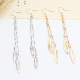 Wholesale Feather Dangle Earrings - 2017 New Arrival Dangle Earrings Alloy Feather Long Eaarrings Gold Silver Color Earrings For Women Anniversary