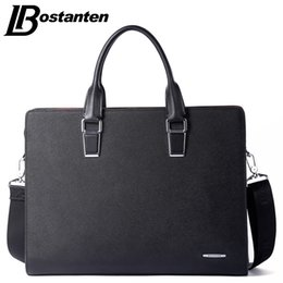 Wholesale Bostanten Briefcase - Wholesale- Bostanten New Men Split Leather Briefcase Laptop 13 inch Men Briefcase Business Bag Male Shoulder Bag Crossbody Bag Tote Handbag