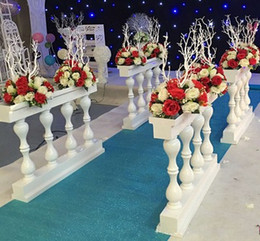 Wholesale White Plastic Fencing - New Pattern White Roman Column Fence Europ Plastic Aisle Runner Fences For Wedding Welcome Area Decoration Photo Booth Props Supplies LLFA