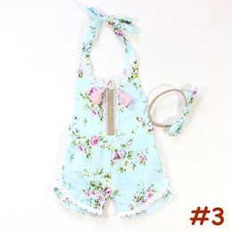 boho outfits Promo Codes - Baby Tassel Romper headband Set Summer Clothes Floral print Girls Cotton Romper Outfit Toddler Playsuit Boho Backless 3-24M