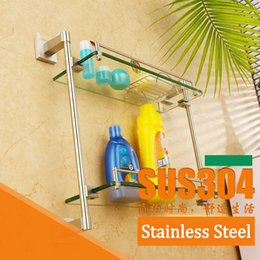 Wholesale Bathroom Accessories Glass Shelf - Tops Bathroom Glass Dual Wall Shelf Thickened Pedestal Toilet Products Cosmetic Rack 304 Stainless Steel Burshed Toilet Hardware Accessories