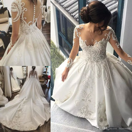 Wholesale natural castle - Long Sleeve 2018 Wedding Dresses Lace Applique Crystal Sheer Neck Bridal Gowns Cathedral Train Satin Plus Size Wedding Dress