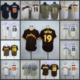 Wholesale San Diego Padres SD Tony Gwynn white blue Coffee Turn Back The Clock Stitched throwback Jersey pullover Baseball Jerseys