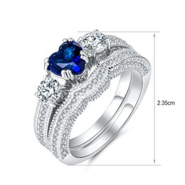 Wholesale Pure Rhodium Jewelry - Dubai Luxury Two Stack Cocktail Band Ring Blue Stone Pure 925 Sterling Silver Best Gift For Family Fashion Jewelry