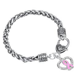 Wholesale antique white ribbon - Popular Style Antique Silver Plated Hollow Heart Shape Pink Ribbon Pendant Bracelet Jewelry