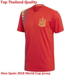 Wholesale Fabregas Jersey - Spain 2018 World Cup camiseta españa Morata A.INIESTA FABREGAS RAMOS DIEGO COSTA SILVA ISCO Home Red Shirt Soccer Jerseys Football Uniforms