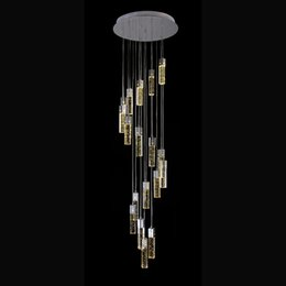 Wholesale spiral chandelier light crystal - rope light lamp crystal spiral pendant lamp staircase crystal drops for chandeliers down lighting modern hotel staircase led pendant lamp