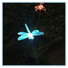 Wholesale Dragonfly Color Change Solar Light - Garden Solar LED Lights Landscape Decoration Waterproof Fairy Light Butterfly Bird Dragonfly Change Color Lamp