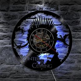 Artes do relógio on-line-Game of Thrones Vinil Relógio de Parede Atmosfera Luz LP Vintage Silhueta Record Presente Handmade Fresco Interior Arte Decorativa CONDUZIU a luz do flash