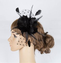 Wholesale Blue Millinery Flowers - Free shipping multiple colors Beautiful Headwear Black Birdcage Bridal Flower Feathers hair accessories millinery party hats Fascinator Hats