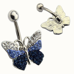 Wholesale Diamond Ring Piercing - 2017 Butterfly Blue White full diamond 18K Gold Plated Belly Button Rings Navel Piercing Body Jewelry Gift Navel Belly Rings