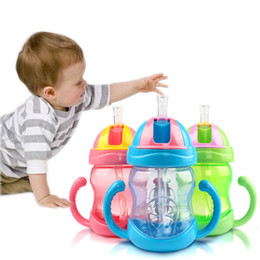 Wholesale Nail Learn - Wholesale-1PC Toddler Infant Newborn Baby Kids Cup Handle Children Learn Drinking Straw Bottle Sippy Cup 240ml