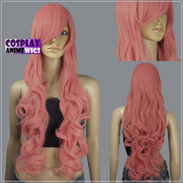 Wholesale Silver Curly Wig - 80cm Milkshake Pink Heat Styleable Curly Long Cosplay Wigs 967_KPN