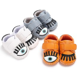 Wholesale Soft Sole Baby Sneakers - Fashion PU Leather Baby Moccasins Shoes big eyes toddler boys girls Shoes Newborn first walker sneaker soft rubber soled