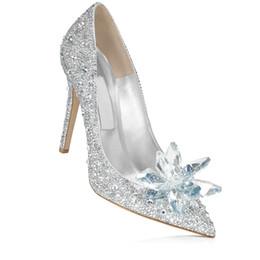 Wholesale Elegent Shoes - 2017 women Cinderella customized bridal party Dress Footwear Rhinestone High heel Wedding Ladies Evening Pumps elegent Bride shoes