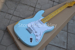 Wholesale Relic Guitar Electric - Brinkley shop light green relic strat aged signature yellow maple fretboard 6 string Electric Guitar