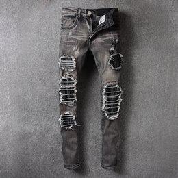 Wholesale Personalized Pop - New Pop Famous Brand AMIRI Jeans Popular Vogue Street Trendy Men Broken Holes PU Stitching Panel Personalized Cat whiskers Jeans Denim Pants