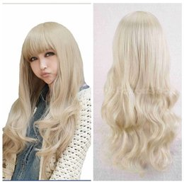 Wholesale Wavy White Cosplay Wig - 100% New High Quality Fashion Picture full lace wigs Women's White Blonde Long Curly Wavy Hair Cosplay Party Heat resistant Hair Wig