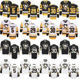Wholesale Murray S - 2017 Pittsburgh Penguins Hockey Jerseys 30 Matt Murray 5 David Warsofsky 35 Tristan Jarry 29 Marc-Andre Fleury 32 Mark Streit Jersey