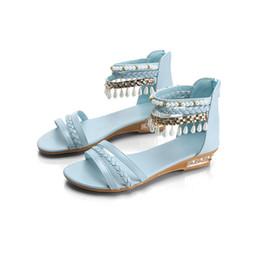 Wholesale Platform Flip Flops Men - Women Pearl Wedges Sandals Summer Rome Bohemia Flip Flops Elegant Platform Shoes Casual Women Shoes