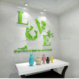 Wholesale Mirror Three Dimensional Wall Stickers - Wholesale- Creative warm 3D acrylic stickers three-dimensional wall stickers decorative mirror bedroom living room TV background wall